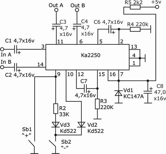 Регулятор громкости на КА2250.
