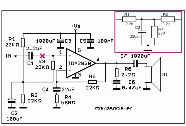 Схема УМ TDA2050.