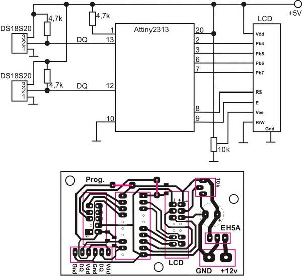 Термометр на AVR ATtiny2313+2